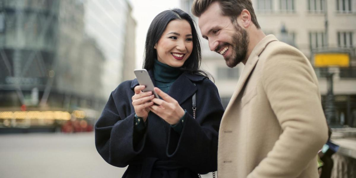 couple, smile, phone
